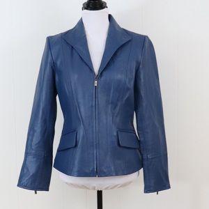 Pamela McCoy blue leather jacket